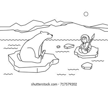 coloring book page for children cartoon polar animals and people. Funny flat character Eskimo, polar bear on the ice floe vector illustration