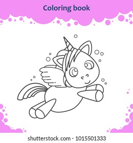 Coloring book page for children. Color the cartoon little flying unicorn.