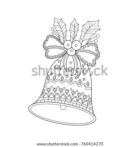 Coloring Book Page Of Christmas Bell For Adult Doodle Style Vector IllustrationHand