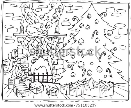 Coloring Book Page Christmas Composition Christmas Stock Vector
