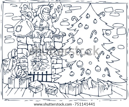 coloring book page christmas composition with santa christmas tree fireplace and gifts in