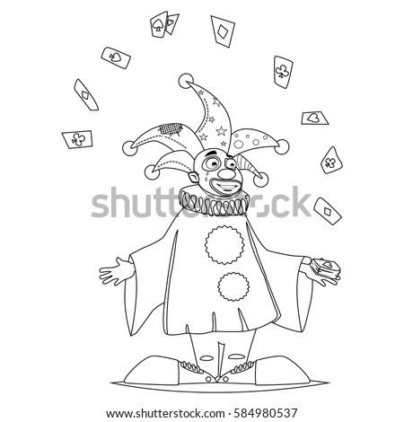 Coloring Book Page Circus Clown Juggles Stock Vector (Royalty Free ...