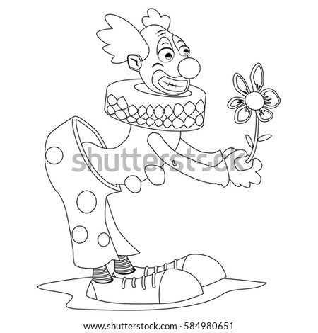 Coloring Book Page Circus Clown Flower Stock Vector (Royalty Free ...