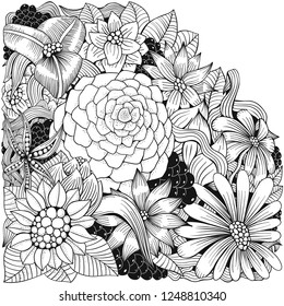 Coloring book page with different flowers and leaf in zentangle style. Black and white vector illustration. Doodle, hand drawn, zen art, anti stress.