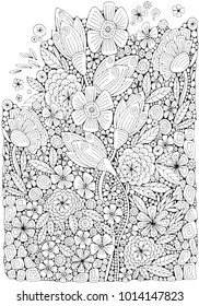 Coloring book page with different little flowers and leaf in zentangle style. A4. Black and white vector illustration. Doodle, hand drawn, zen art, anti stress.