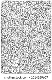 Coloring book page with different little flowers and leaf in zentangle style. A4 size. Black and white vector illustration. Doodle, hand drawn, zen art, anti stress.