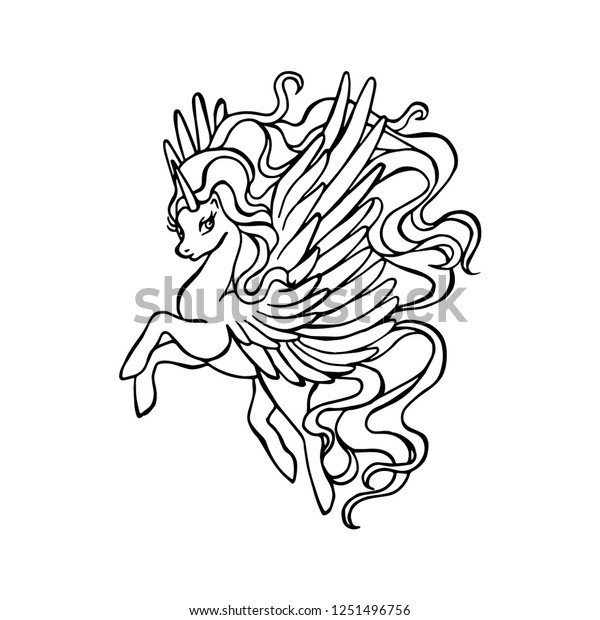 Coloring Book Page Fairytale Unicorn Magical Stock Vector Royalty Free 1251496756