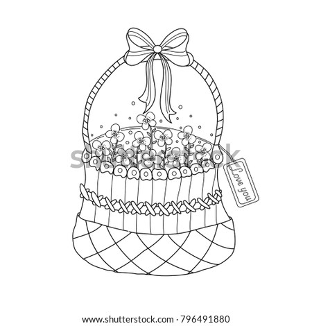 Coloring Book Page Flower Basket Adult Valentines Stock Vector