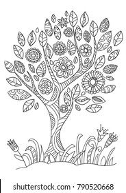 Coloring book page with flowering tree in doodle style. Hand drawn sketch, black and white.