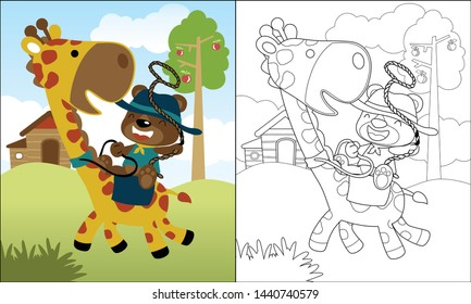 coloring book or page with funny bear cartoon ride on giraffe