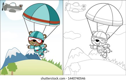 coloring book or page with funny skydiver cartoon