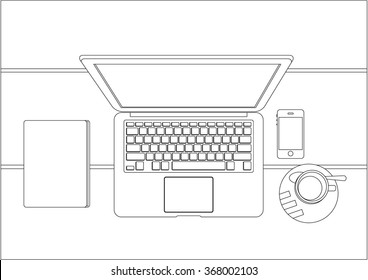 Coloring book page for grownups, laptop