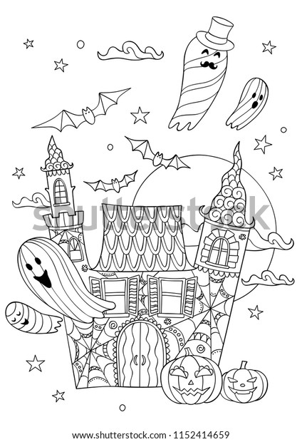 Coloring book page for Halloween. Cartoon castle with ghosts, bats and pumpkins at night.