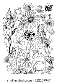 Coloring book page. Hand drawn vector illustration with floral elements for your design.