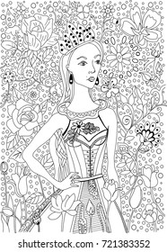 Coloring book page. Hand drawn vector illustration for your design. Floral elements.