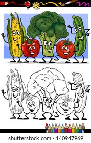 Coloring Book or Page Humor Cartoon Vector Illustration of Vegetables Comic Food Objects Group for Children Education