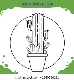 Coloring book page for kids. The cactuses in pot