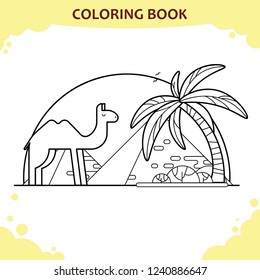 Coloring book page for kids. The camel and Giza pyramids