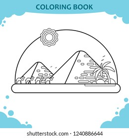 Coloring book page for kids. The camels and Giza pyramids