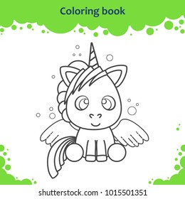 Coloring book page for kids. Color the cute cartoon unicorn.