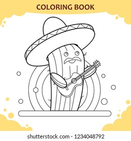 Coloring book page for kids. Color the cute mexican cactus.