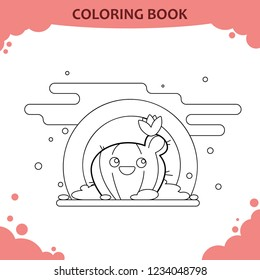 Coloring book page for kids. Color the cute cactus with flower