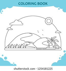Coloring book page for kids. The desert landscape