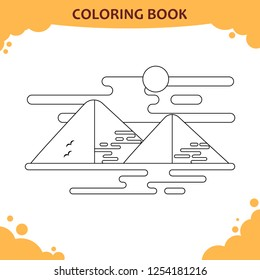 Coloring book page for kids. The Giza pyramids under sun
