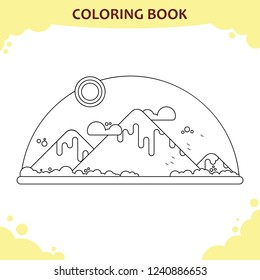 Coloring book page for kids. The mountain landscape