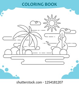 Coloring book page for kids. The sea beach with palm tree. Flat design
