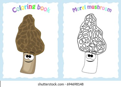 Coloring book page for preschool children with colorful morel  mushroom and sketch to color
