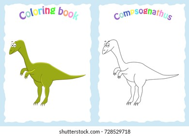 Coloring book page for preschool children with colorful compsognathus and sketch to color