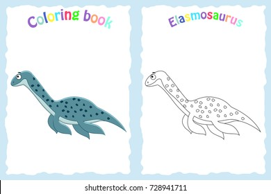 Coloring book page for preschool children with colorful elasmosaurus and sketch to color. Dinosaur coloring book. Vector illustration. Preschool education.