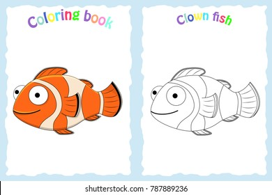Coloring book page for preschool children with colorful clown fish and sketch to color