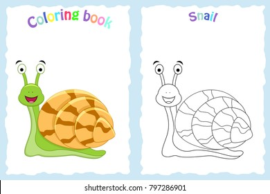 Coloring book page for preschool children with colorful snail and sketch to color