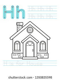 Coloring book page. Printable worksheet for kindergarten and preschool. Exercises for study English. Vector coloring book alphabet. Simple level of difficulty. Letter H. House