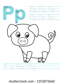 Coloring book page. Printable worksheet for kindergarten and preschool. Exercises for study English. Vector coloring book alphabet. Simple level of difficulty. Letter p