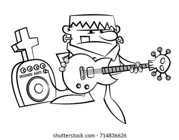 Coloring book page with a rocking guitar playing frankenstein monster vector illustration.