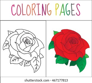 Coloring book page, Rose. Sketch and color version.