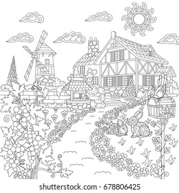 Coloring book page of rural landscape. Farm house, windmill, water well, mail box, rabbits, bird, grape vines. Freehand drawing for adult antistress colouring with doodle and zentangle elements.