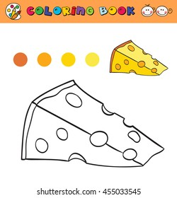 coloring book page template with cheese, color samples. vector illustration