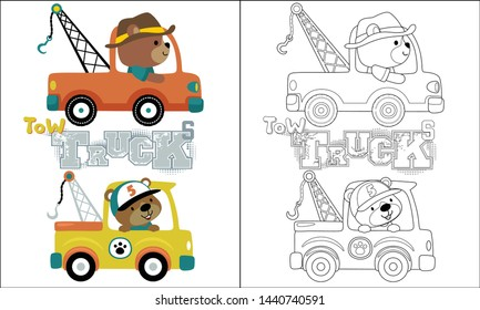 coloring book or page of tow truck cartoon with funny driver