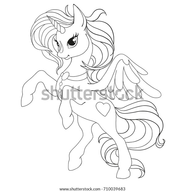 Coloring Book Page Unicorn Fabulous Horse Stock Vector Royalty