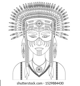 Coloring book page. Vector portrait of native american Indian woman in national clothes