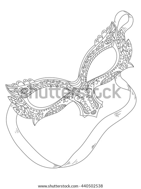 Coloring book page with venetian mask. Vector hand drawn black and white illustration. Anti stress pttern for adult.