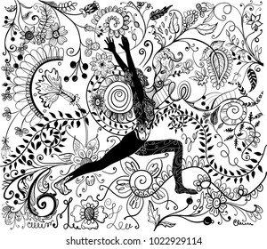 Coloring book page with woman practicing yoga and ornate whimsical background.