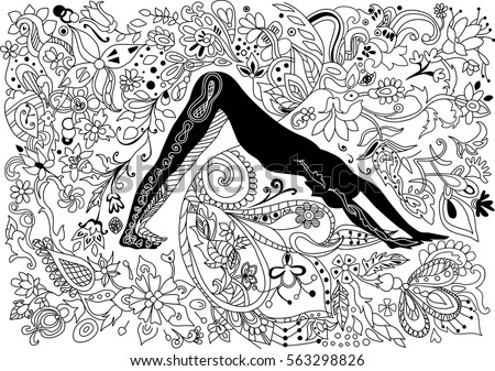Coloring book page with woman practicing yoga.