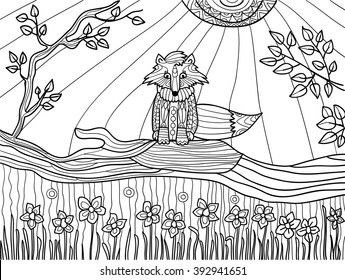 Coloring book pages for adults: funny fox cub on fallen tree, coloring book, coloring pages, coloring outline, line art coloring