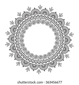 Coloring book pages for kids and adults. Hand drawn abstract design. Decorative Indian round lace ornate mandala. Frame or plate design