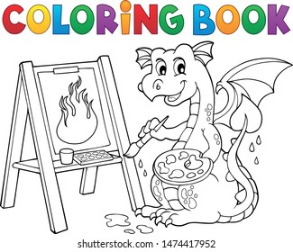 Coloring book painting dragon theme 2 - eps10 vector illustration.